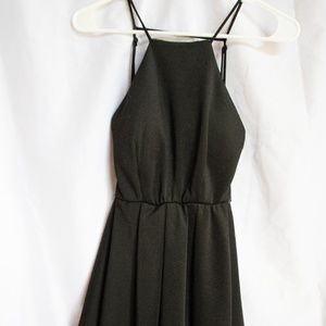 Open Back Black Skater Dress